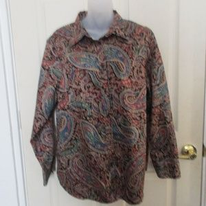 Chaps button LS top blue green floral print 2X